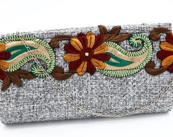 Gray Tweed Embroidered Design Purse