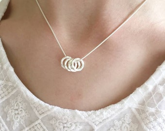 Sterling silver 4 silver rings necklace - 40th birthday gift - bridesmaids gift - 40th gift - 40th birthday gift for daughter