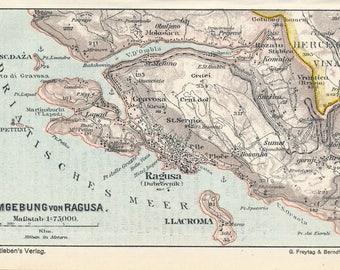 1913 Dubrovnik Croatia Antique Map