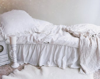 Linen Bed Skirt Dust Ruffle, Bedskirt, White linen dust ruffle, ruffle skirt bed, French linen bed skirt, white ruffle bed skirt, custom