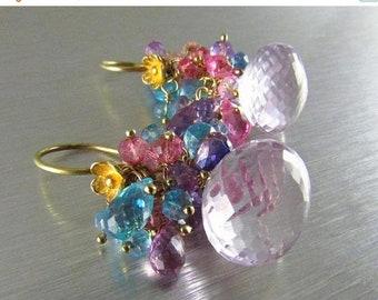 15 Off Pink Amethyst Cluster Gemstone Gold Filled Earrings