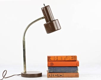 Retro Desk Lamp Gooseneck Desk Lamp Vintage Desk Lamp 1970's Desk Lamp Desk Lamp Retro Office Decor Brown Retro Desk Lamp