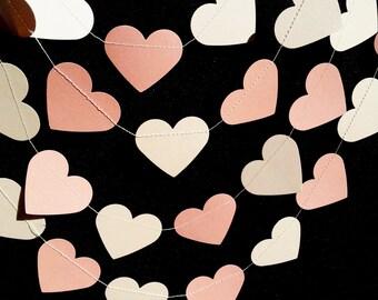 CREMA de melocotones y guirnalda corazones de papel - de la boda, compromiso, partido, ducha, decoración de habitaciones.