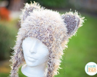 Soft Furry Kitty Cat Hat With Earflaps READY to SHIP for Preteen-Teen Size