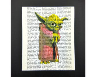 Yoda Star Wars with Sparks of Glitter, Star Wars Print, Wall Decor, Distionary Page