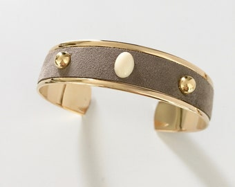 Cuff leather and cabochon S