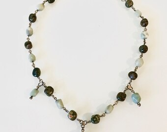 Sterling Silver Green Red Jasper and Turquoise (?) Necklace