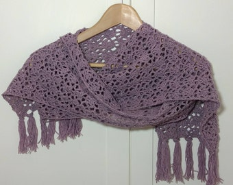 Merino Scarf, Lacy Scarf, Lace crochet Scarf - Made to Order