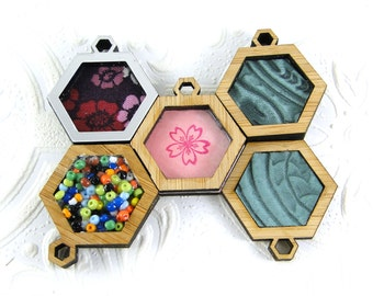Make your own Hexagon pendant in bamboo - one inch