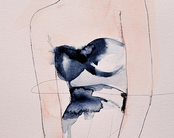 Figure 4 - Fashion Illustration Art Print, Mixed Media Painting by Leigh Viner
