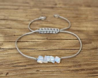 Moonstone chip bracelet crystal chip bracelet moonstone crystal jewelry raw crystal bracelet chip gemstone bracelet yoga fertility bracelet