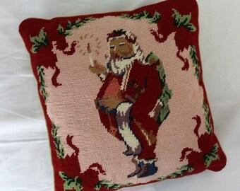 santa embroidered pillowcase