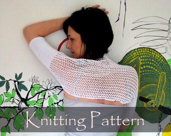 KNITTING PATTERN - Lace Knit Shrug Pattern Summer Bolero Mesh Cotton Short Cobweb Shrug Knitting Pattern Lacy Bolero S, M, L, XL Pdf - P0058