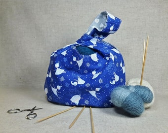 Knitting Project Bag with Snowflakes and hearts, blue, white and grey, gift for women, knitters gift, yarn storage bag, craft bag