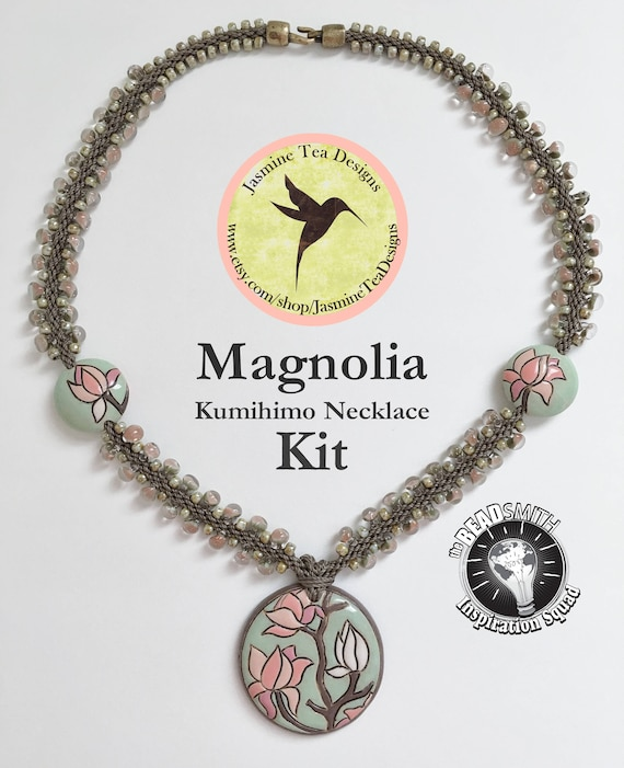 Magnolia, Beaded Kumihimo Necklace As Seen In Bead And Button, Kumihimo Fiber And Beaded Jewerly, May 2016, Magnolia Necklace Kit