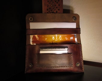 leather tobacco pouch brown vintage