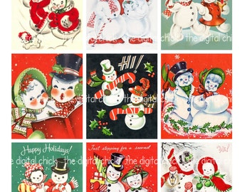 Digital Clipart Instant Download Vintage Christmas Cards Snowman Snowmen Couples