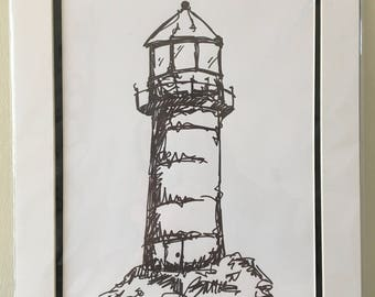 Mounted A4 black and white signed limited edition print of lighthouse, from original artwork