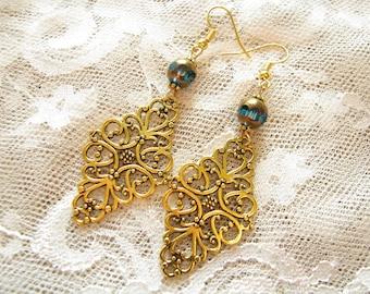Blue earrings Anniversary gift for her Edwardian earrings Victorian earrings Gold earrings Elegant earrings Bead Earrings Drop Earrings