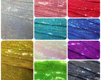 3mm Mini Micro Holographic Shiny Sequins on Stretch Polyester Spandex Fabric - 58 Inches Wide - By the Yard or Bulk