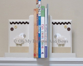 Nursery Bookends . Wood Bookends . Boutique Bookends. Custom Childrens Bookends. Name Blocks . PBK Sweet Lambie