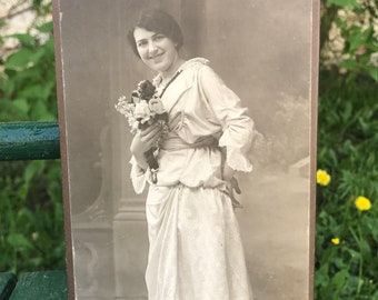 Vintage Photo -  J. Gabriel Photo Studio Jicin: Cabinet Card of a Woman