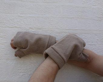 Extra large size mens gloves Fingerless handwarmers Texter men ooak gloves lambswool neutral beige Winter wool gloves Super large modern men