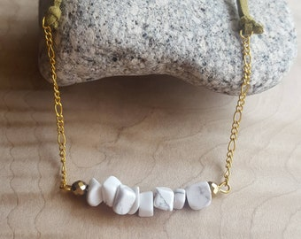 White Howlite and Gold Faceted Hematite, Raw Natural Stone, Gold Figaro Chain, Green Faux Leather Adjustable Length Bar Necklace
