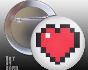 8 bit heart video game inspired  1.25 inch - Pinback Button