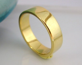 Wide wedding band, yellow gold plated ring, faithfully yours wedding ring, wide gold ring, simple gold band,  6mm vermeil gold ring