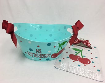 Teacher Gift basket set: Personalized with name clear acrylic clipboard and plastic oval tub, Cherry or any design, kids, coaches, teachers