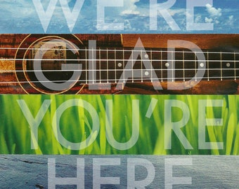 We're Glad You're Here art tile. Coaster. Contemporary decor.