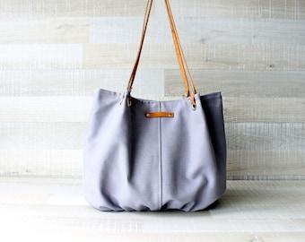 Tote Bag, Large Purse, Diaper Bag, Stone Grey, Silver Grey, Hanbag, Bag, Genuine Leather Handles, Large Bag, Oversize Bag, Everyday Tote