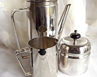 Silver Plated Teapot with Creamer and Sugar Bowl, Retro Kitchen, Mid Century Modern, Teapot Set