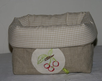 Fabric basket Organizer quilted linen and embroidered cherries
