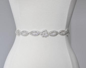 Bridal crystal belt, rhinestone sash, bridal sash, bridal belt