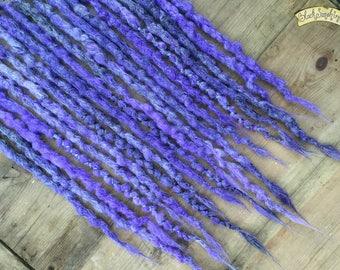 Lavender & Grey DE x10 Crochet Synthetic Dreads - purple wraps