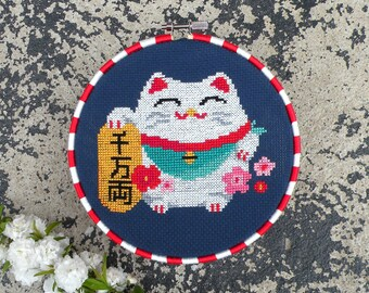 Chinese Lucky Cat Cross Stitch Pattern PDF, Maneki Neko Chart, Chinese Fortune Cat Cross Stitch, Counted Cross Stitch, Cute Cross Stitch