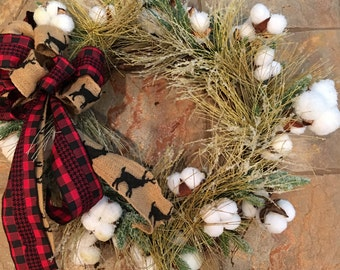 Winter pine needle and cotton wreath
