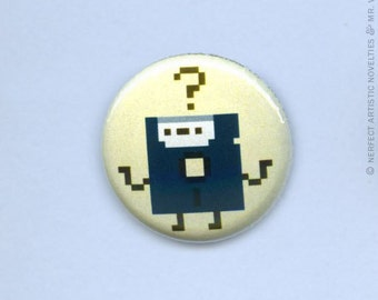"Puzzled Floppy 1"" Pin-Back Button"