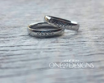 Customizable Hand Stamped Name Ring  Mothers Ring Personalized Name Ring 4mm Shiny Stainless Steel