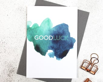Good Luck Card | Celebration | Watercolour | Greeting Card | New Job | Exams