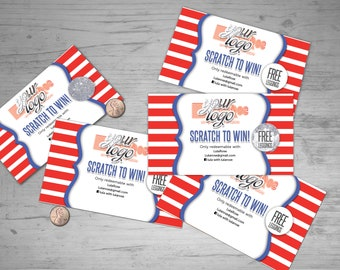 American Independence Day Scratch Off Card - 5 cards, fully customizable bats