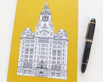 Liverpool Notebook, Golden Yellow Journal, Recycled Notebook, Recycled Journal, Blank Journal, Travel Journal, Liver Building Journal