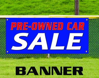 Pre-Owned Car Sale Banner Sign Used Automobile Buy Here We Finance