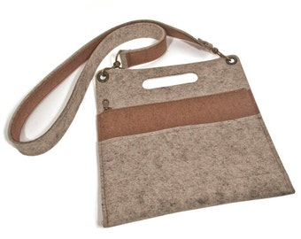 """Wool Felt Cross-Body Bag - Natural Gray with Brown Accents, 11.9"""" x 13"""", 100% Wool Felt"""
