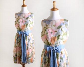 Vintage 1960s Floral Dress - Botanical Saks Fifth Avenue Summer Dress - Floral Print Chiffon - Medium Small