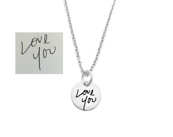Tiny Personalized Handwriting Necklace - Round Pendant - Actual Handwriting Jewelry - Memorial Keepsake Gift - Minimalist Jewelry - 1305