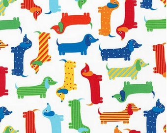 Bright Dachshunds (Primary) FLANNEL Fabric from Robert Kaufman's Urban Zoologie Collection by Ann Kelle