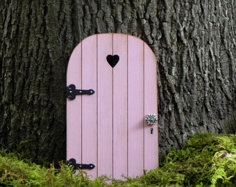 Fairy Door fairy garden miniature wood carnation pink with decorative black hinges
